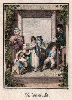 J.G.Z., Die Pelztracht, Kupferstich nach Ramberg 1821, D2277