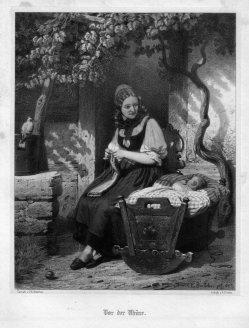 Martin August Dircks (1806-1871), Vor der Thüre, Lithographie nach Böttcher, D2271-5