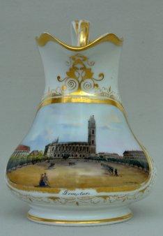 Magdeburg, Domplatz um 1850, Porzellanmalerei, Sahnekännchen, D0692