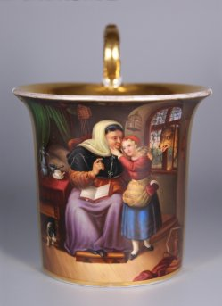 Johann Hermann Kretzschmer (1811-1890), Das Rothkaeppchen, Porzellanmalerei, Tasse, D1248
