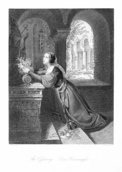 Albert Henry Payne (1812-1902), Das Blumenopfer, nach Fay, Stahlstich, D1503