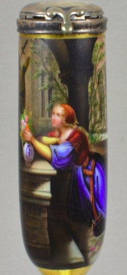 Josef Fay (1813-1875), Das Blumenopfer, Porzellanmalerei, Pfeifenkopf, D1508