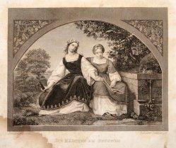 Eduard Schuler (1806 – 1882), Die Mädchen am Brunnen, Stahlstich nach Bendemann, D1606