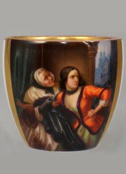 "Carl Wilhelm Friedrich Oesterley (1805 – 1891)""Leonore"", Porzellanmalerei, Campanertasse, D1706"