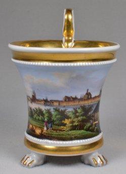 Magdeburg, Elbpanorama um 1830, Porzellanmalerei, Tasse, D1750