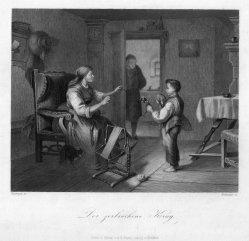 Adolf Baumann (1829-1865), Der zerbrochene Krug, Stahlstich nach C.Naumann, D2293-4