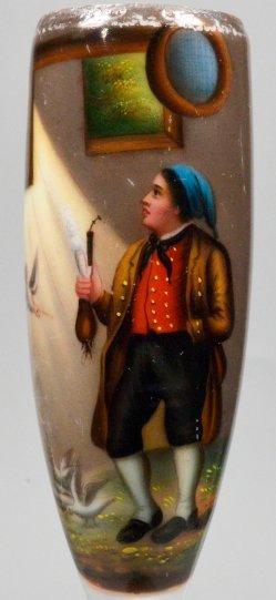 Der unerwartete Taubenbesuch, Porzellanmalerei, Pfeifenkopf, D2296-5