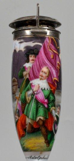Gustav Adolfs Landung, Porzellanmalerei, Pfeifenkopf, D2299