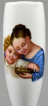 Kinder mit Vogelnest, Porzellanmalerei, Pfeifenkopf, D2291