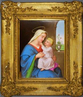 Johann von Schraudolph (1813-1891), St. Maria, Porzellanmalerei, Bildplatte, D2289