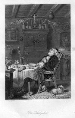 William French (1815-1898), Das Tischgebet, Stahlstich nach H.J. Stanley, D1473