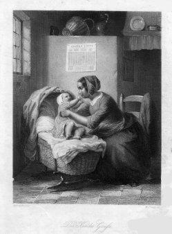 William French (1815-1898), Des Kindes Gruß, Stahlstich nach De Bruycker, D2295