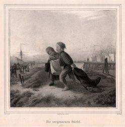 Carl Fischer (1809-1874), Der vergessene Stiefel, Kreidelithographie nach R. Jordan, D2318