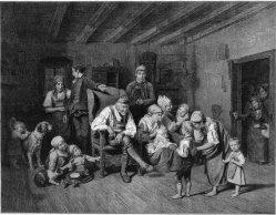 Claude Thielley (1811-1891), Großvaters Wiegenfest, Lithographie nach Waldmüller, D2271-4