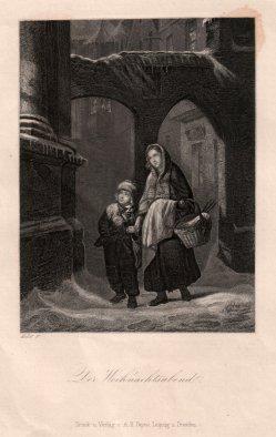 Der Weihnachtsabend, Stahlstich nach Feuermüller, D2329