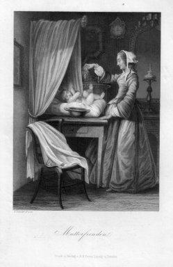 Eduard Schuler (1806-1882), Mutterfreuden, Stahlstich gemalt und gestochen von E. Schuler, D2332-1