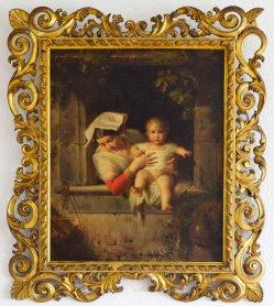 Eduard Steinbrück (1802-1882), Junge Römerin mit Kind am Fenster, Gemälde, ÖlLw, D2323