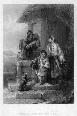 Francis William Topham (1808-1877), Reisende am Brunnen, Stahlstich nach j. Zeitter, D2094-8