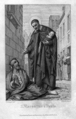 Franz Xaver Steifensand (1809-1876), S. Vincentius a Paulo, Stahlstich nach Settegast, D2330-1