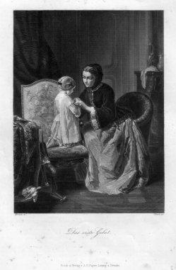 A. Simon, Das erste Gebet, Stahlstich nach Moreau, D2332-7