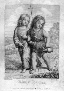 Friedrich August Ludy (1823-1890), Jesus et Joannes, Stahlstich nach Pinturicchio, D2330-5