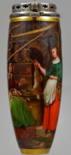 Gabriel Metsu (1629-1667), Die Wildprethändlerin, Porzellanmalerei, Pfeifenkopf, D2319