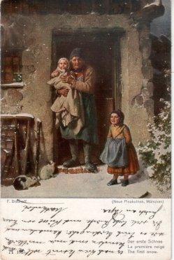 Georg Friedrich Bischoff (1819-1873), Der erste Schnee, Postkarte, D2334
