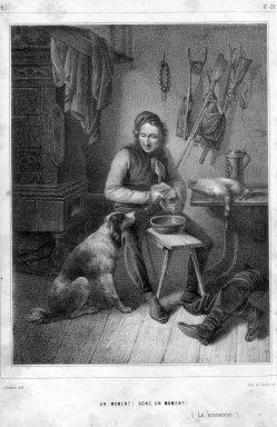 Jean-Baptiste Adolphe Lafosse (1810-1897), Un moment! Donc, un moment! (Der Wilderer), Lithographie, D2338-3