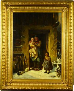 Josef Haier (1816-1891), Der erste Schnee, Gemälde nach F. Bischoff, D2322