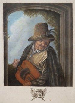 Musiker am Fenster mit Drehleier, Kupferstich nach v. Ostade, A0205