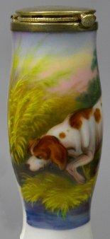 Schnüffelnder Hund, Porzellanmalerei, Pfeifenkopf, D2316