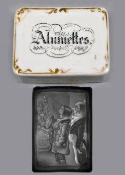 Zündhholzdose aus Porzellan mit Lithophanie, D2328