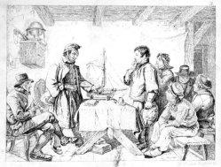 Auguste Hüssener (1789-1877), Kupferstich, Das Lootsen-Examen, nach R. Jordan, A0243