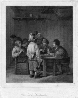 Carl Ferdinand Mayer (1798-1868),Stahlstich, Die Kartenspieler, nach C. Bega, D2365-2