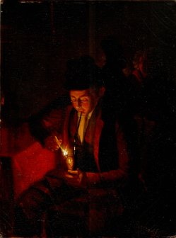 Das Abendpfeifchen, Gemälde, van Schendel (attr), D2178
