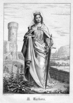 Heilige Barbara, Stahlstich als Andachtsbild nach Settegast, D2347-18