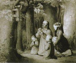 Karl Fischer (1809-1874), Betende Bauernfamilie im Walde (Magdeburger Bilderstreit), Lithographie nach Becker von Worms, A0245
