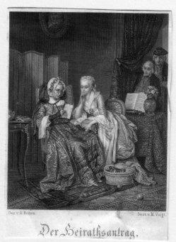 M. Voigt, Der Heiratsantrag, Stahlstich nach A. Rohen, D2375-8