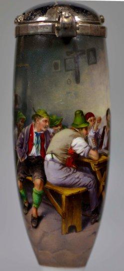 Süddeutsche Wirtshausszene, Porzellanmalerei, Pfeifenkopf, D2354