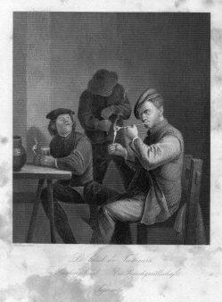 A. Carse, Die Rauchgesellschaft, Stahlstich nach A.Brouwer, D2390-3