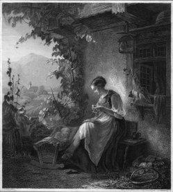 Albrecht Fürchtegott Schultheiss (1823-1909), Die beschäftigte Mutter, Stahlstich nach H. Bethke, D2393-10