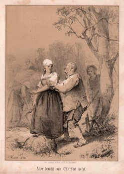 Arnz & Co. Düsseldorf, Alter schützt vor Thorheit nicht, Lithographie nach L. Knaus, D2390-8