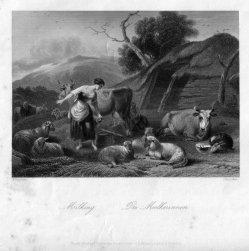 Christian Steinicken (1831-1896), Die Melkerinnen, Stahlstich nach Berchem, D2399-3