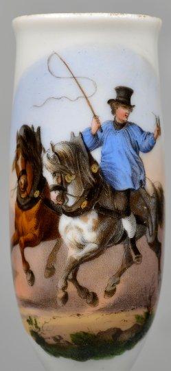 Fröhlicher Ausritt mit zwei Pferden, Farbdekor, Pfeifenkopf, D2403