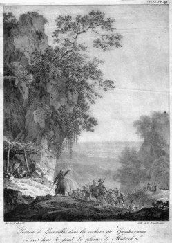Gottfried Engelmann (1788-1839), Der Rückzug der Guerrillas, Lithographie nach d` Albe, D2386-9