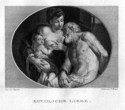 Ignaz Krepp (1801-1853), Kindliche Liebe, Kupferstich nach C. Cignani, D2400-6.jpg