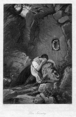 William French (1815-1898), Der Jahrestag, Stahlstich nach H. Barthelme, D2407-8