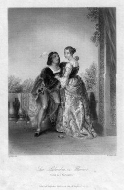 William French (1815-1898), Die Liebenden in Florenz, Stahlstich nach L Hicks, D2378-11