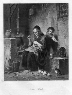 A. Simon, Am Herde, Stahlstich, D2422-5
