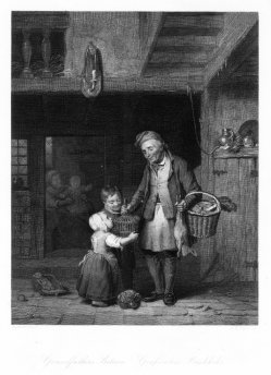 Albert Henry Payne (1812-1902), Großvaters Rückkehr, Stahlstich nach de Braekeleer, D2401-1